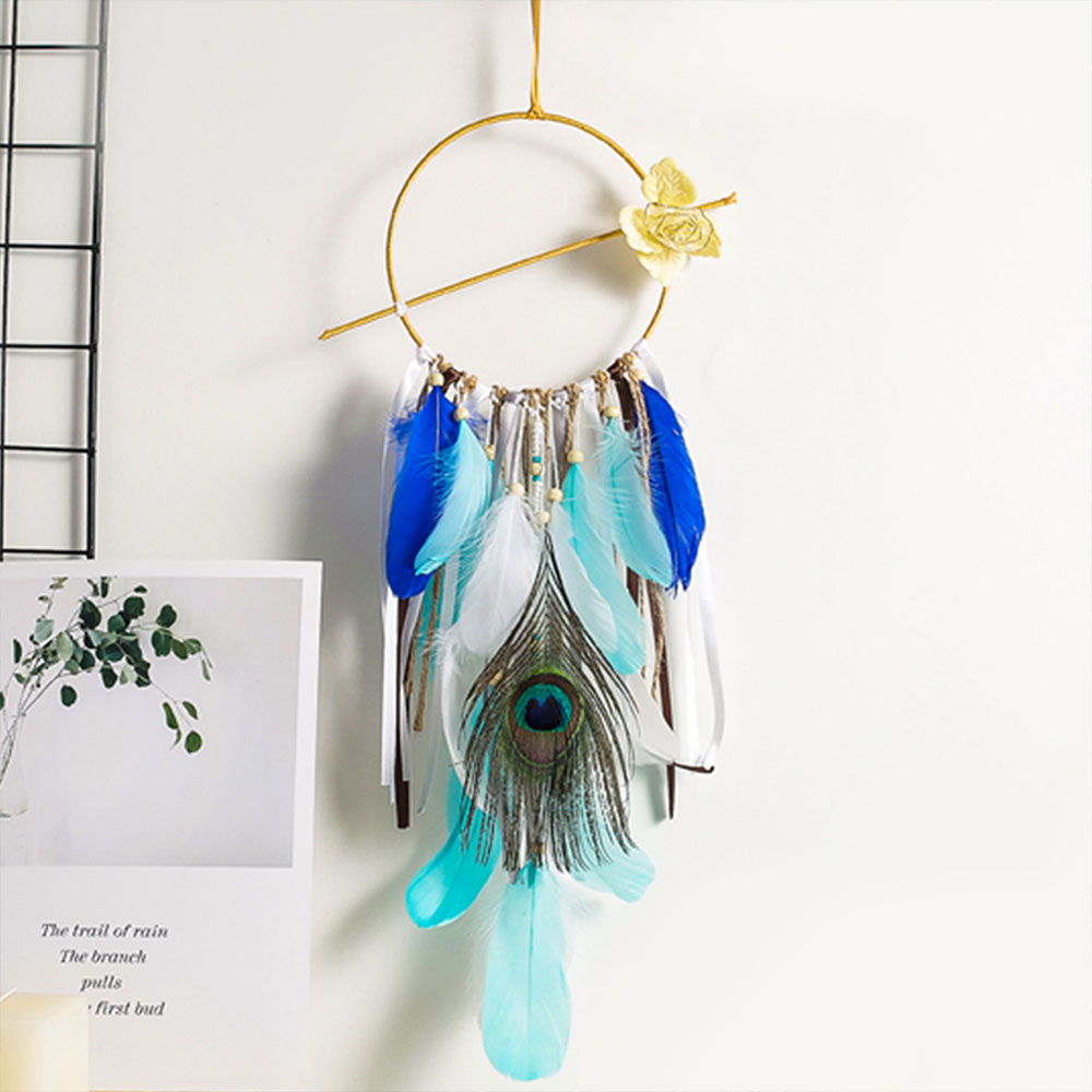 Dreamcatcher-Dream-Catcher-White-Pink-Colorful-Feather-Native-American-Indian thumbnail 31