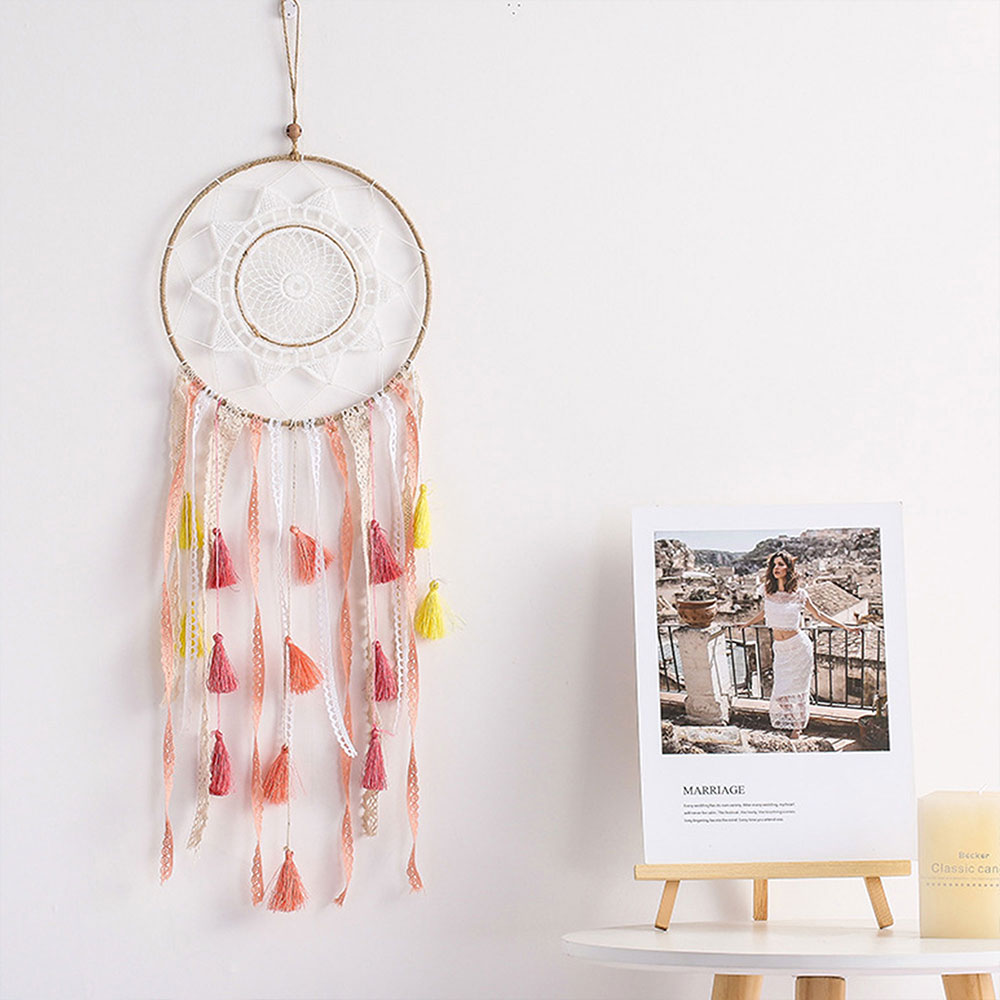 Dreamcatcher-Dream-Catcher-White-Pink-Colorful-Feather-Native-American-Indian thumbnail 35