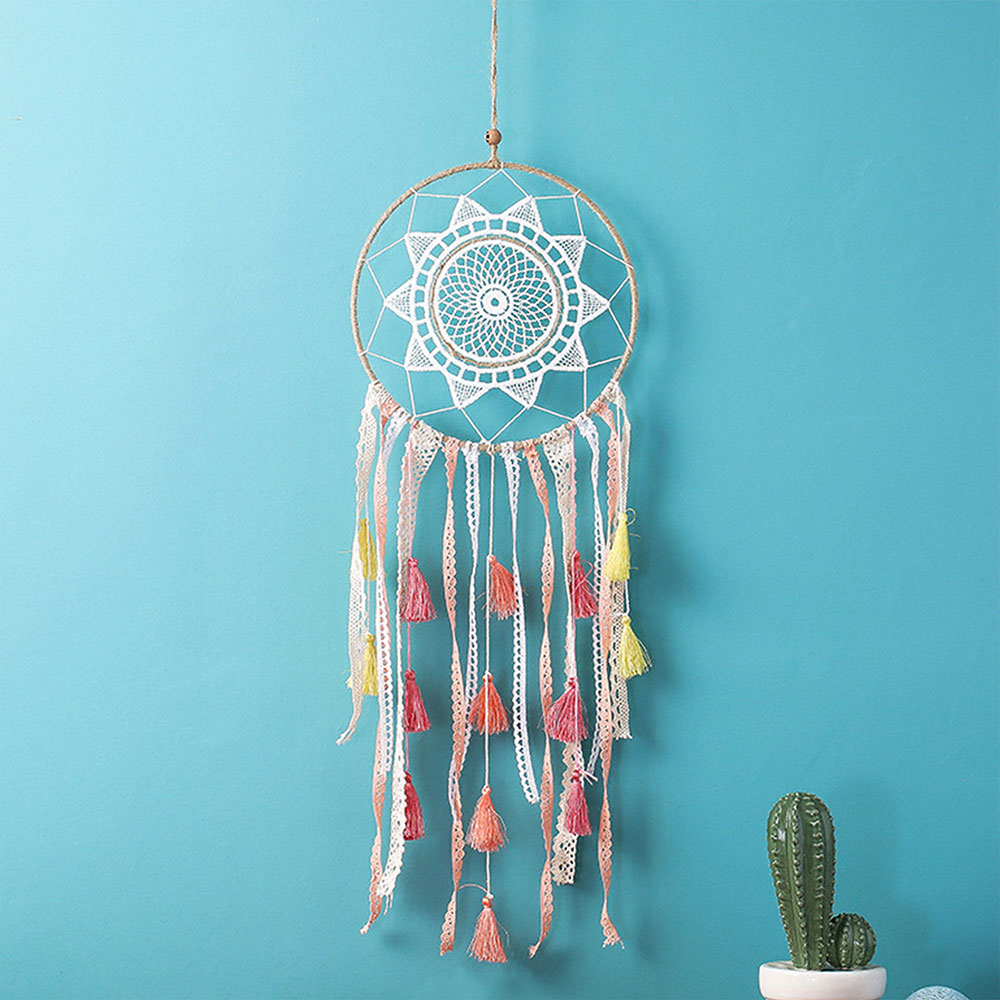 Dreamcatcher-Dream-Catcher-White-Pink-Colorful-Feather-Native-American-Indian thumbnail 36