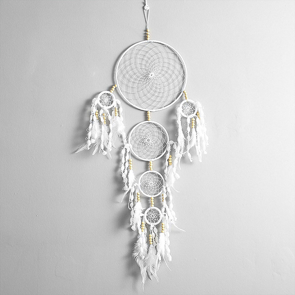 Dreamcatcher-Dream-Catcher-White-Pink-Colorful-Feather-Native-American-Indian thumbnail 38