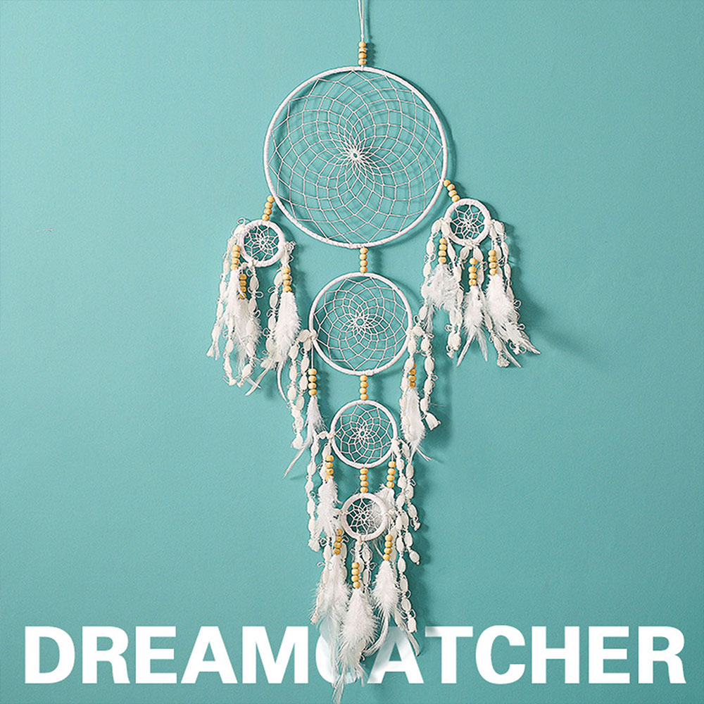 Dreamcatcher-Dream-Catcher-White-Pink-Colorful-Feather-Native-American-Indian thumbnail 39