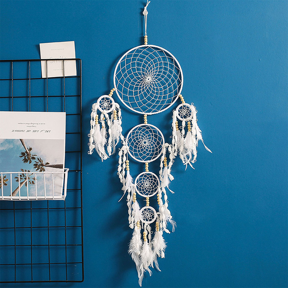 Dreamcatcher-Dream-Catcher-White-Pink-Colorful-Feather-Native-American-Indian thumbnail 40