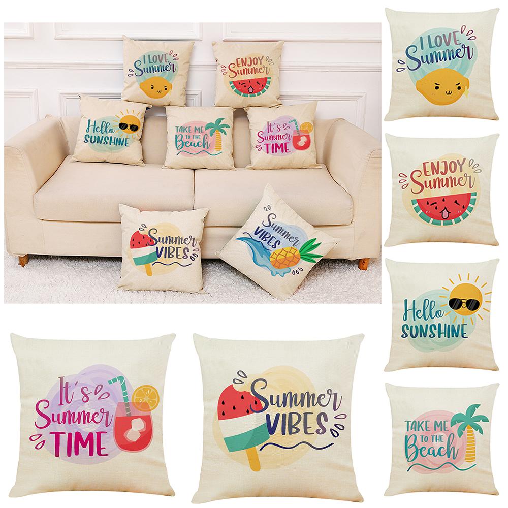 Details About Cushion Cover Sofa Waist Throw Pillow Case Summer Beach Theme 45x45cm Home Decor