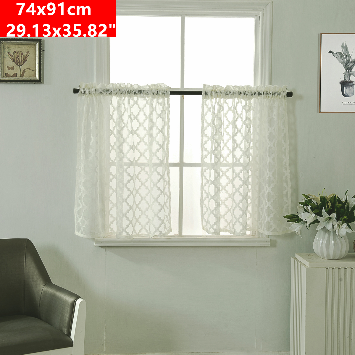 Details about Sheer Kitchen Tiers Curtains Rhombus Jacquard Short Half  Window Drapes Valance