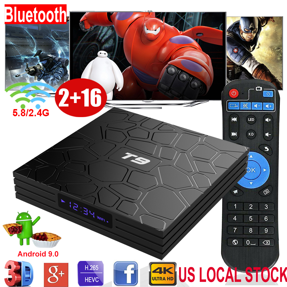 T9 Android 9.0 2+16GB 4K Quad Core Dual WIFI BT4.0 TV BOX HDMI2.0 Media Streamer Featured