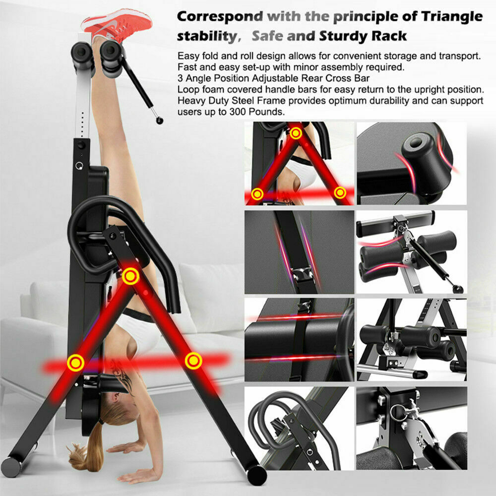 thumbnail 10 - Heavy Duty Inversion Table for Back Therapy Pain Relief Adjustable Stretcher NEW