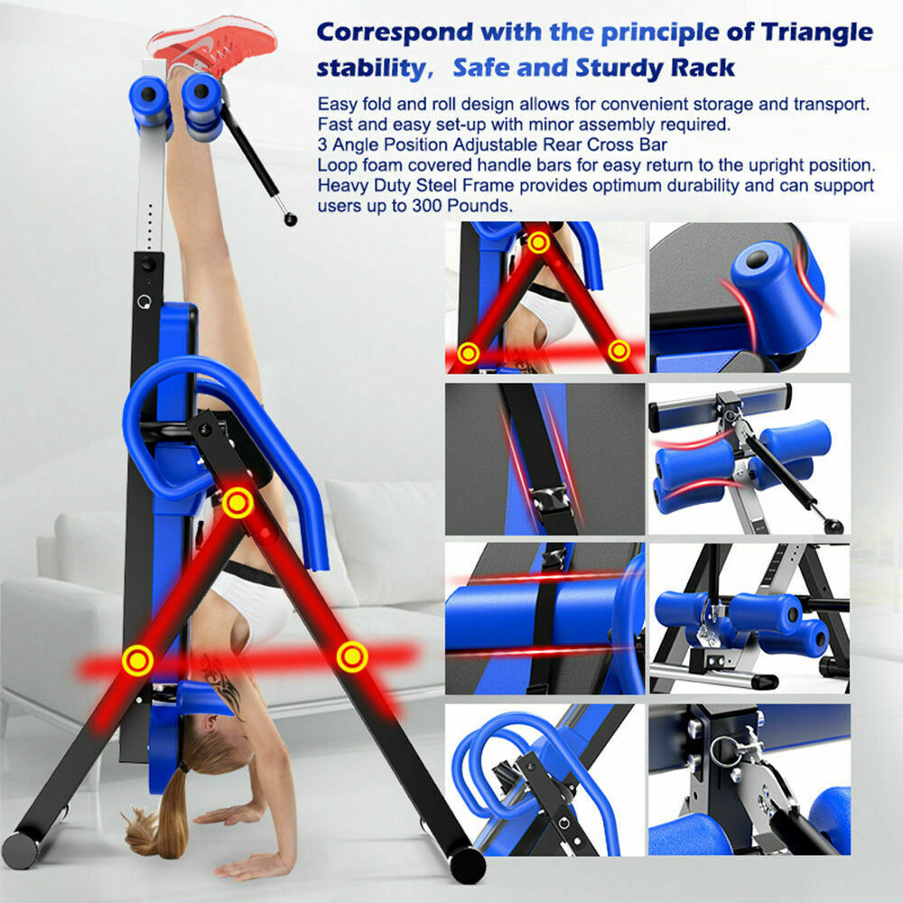 thumbnail 14 - Heavy Duty Inversion Table for Back Therapy Pain Relief Adjustable Stretcher NEW