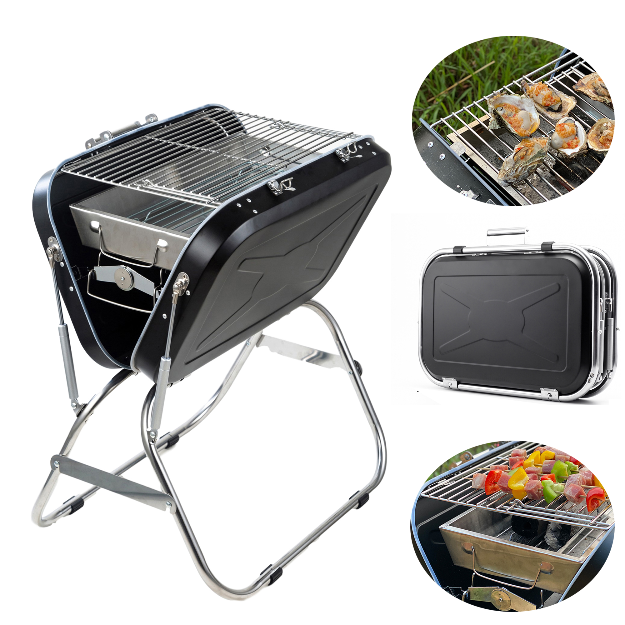 Portable Outdoor Bbq Grill Charcoal Barbecue Smoker Meat Cooker Patio Camping Us Ebay