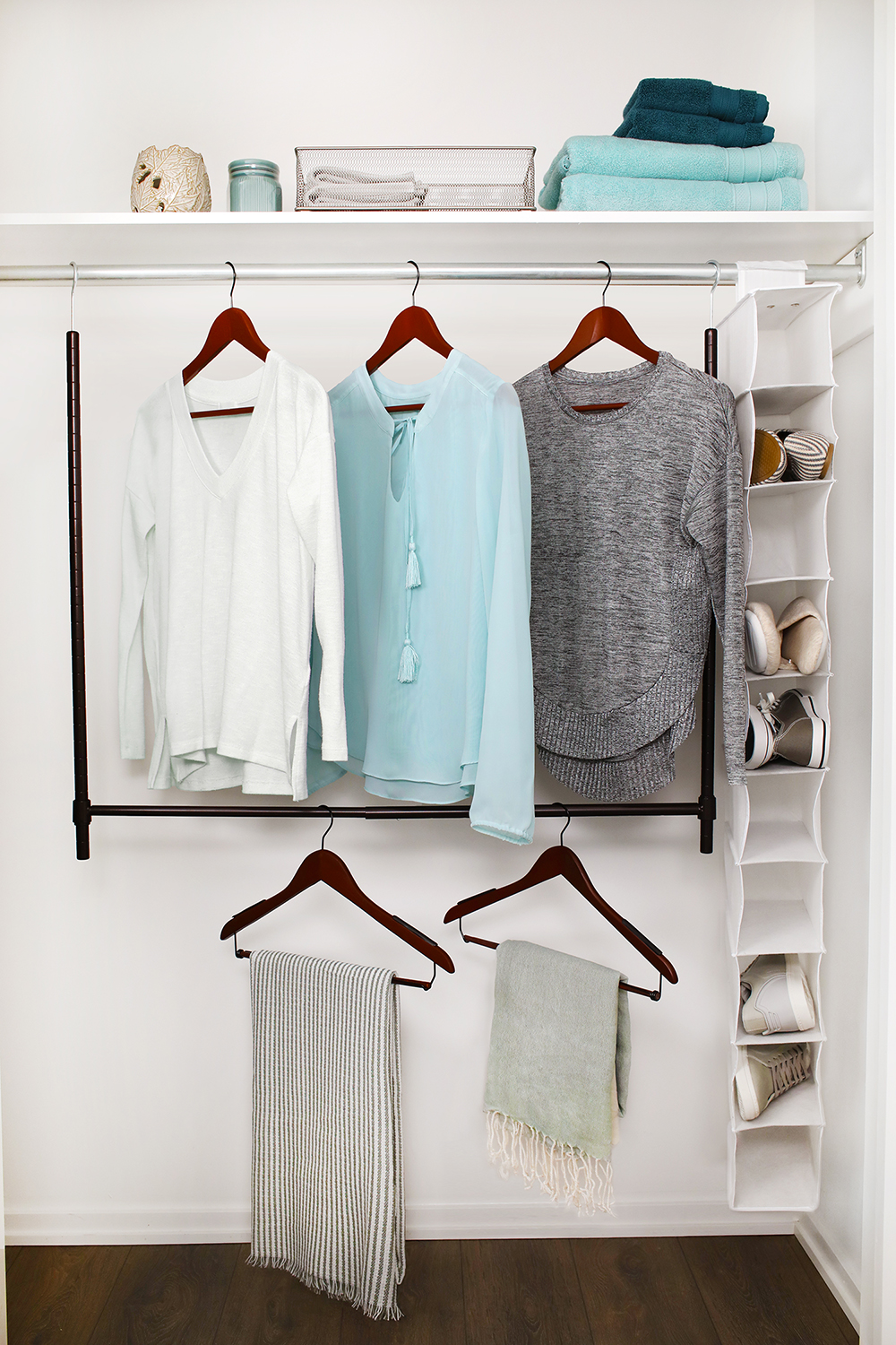 Double The Capacity Of Your Closet By Installing An Expandable Lower Closet  Rod From Tidy Living. The Secondary Rod Is Easy To Install And Creates A  Lower ...