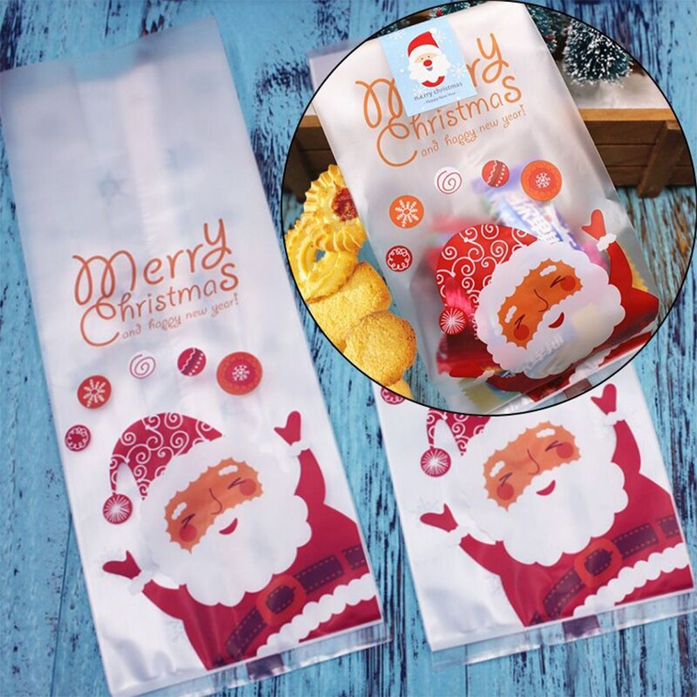 Large 50PC Christmas Self Adhesive Seal PP Bag Candy Cookies Pouches 21x8.5cm IE