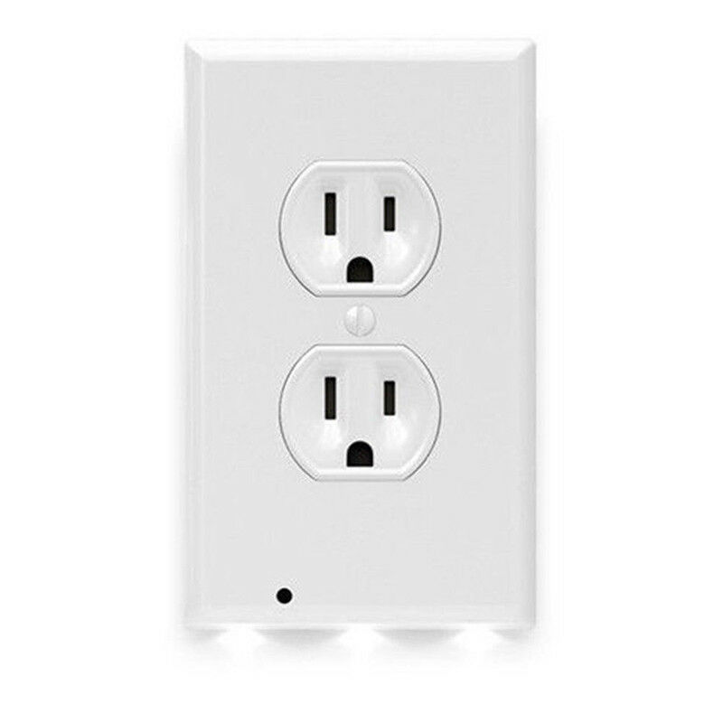 Wall Outlet Cover Plate 2 Plug With LED Night Light For ...