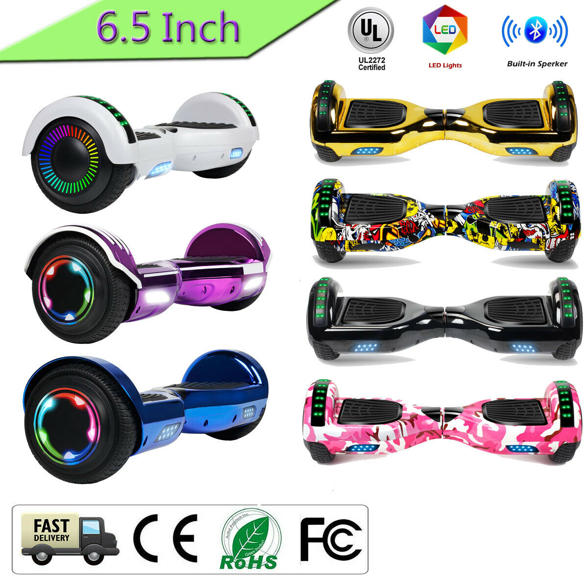 """6.5"""" Hoverboard Bluetooth HOVSCO Electric Balance Scooter with Bag Side LED 2"""