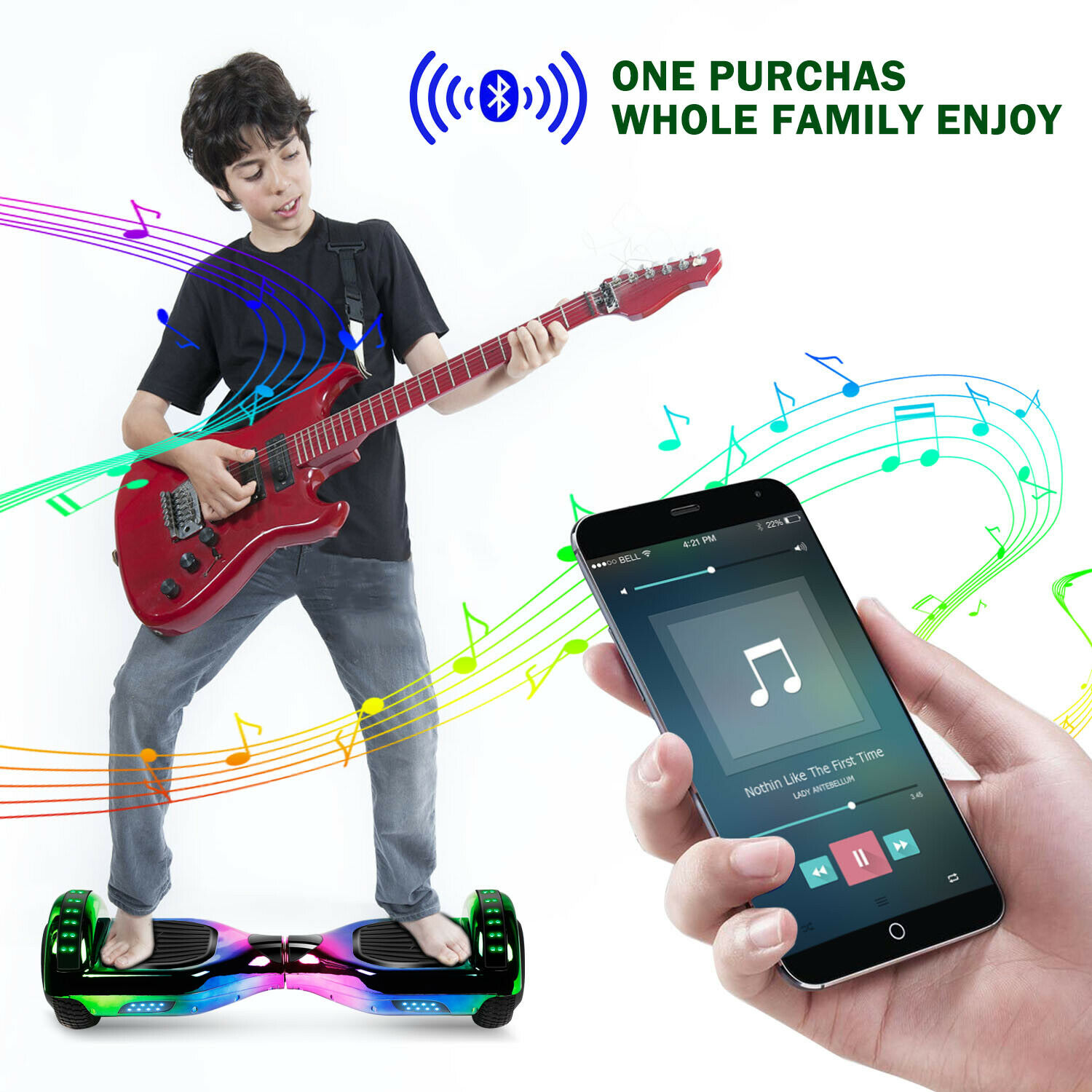"""6.5"""" Hoverboard Bluetooth HOVSCO Electric Balance Scooter with Bag Side LED 6"""