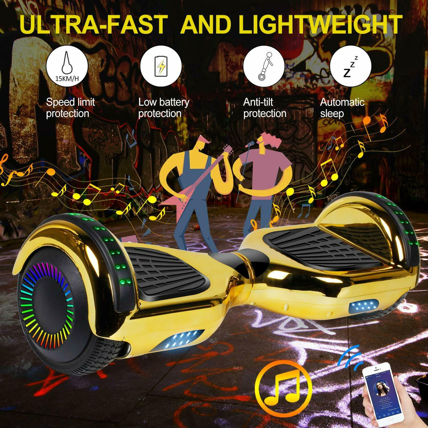 """6.5"""" Hoverboard Bluetooth HOVSCO Electric Balance Scooter with Bag Side LED 10"""