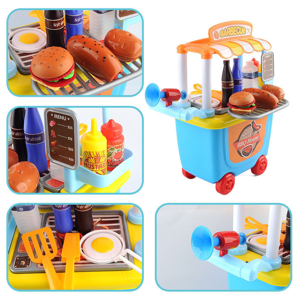 Children's Kids BBQ Barbecue Pretend Play Set Cart Toys