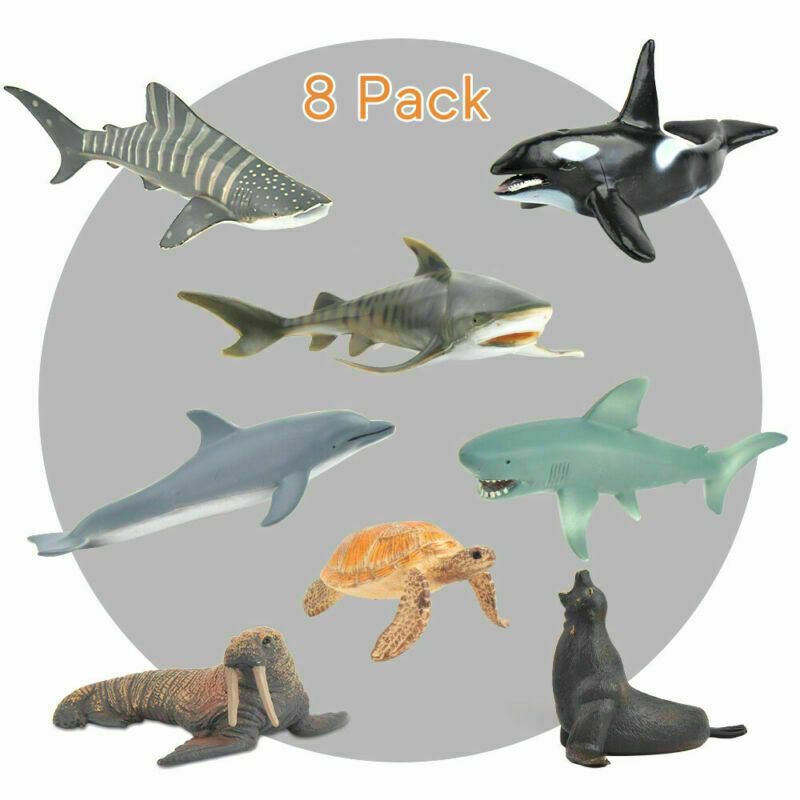 Ocean World Sea Life Creatures Whales Shark Dolphin Fish Figures 8 Pack Kids Toy