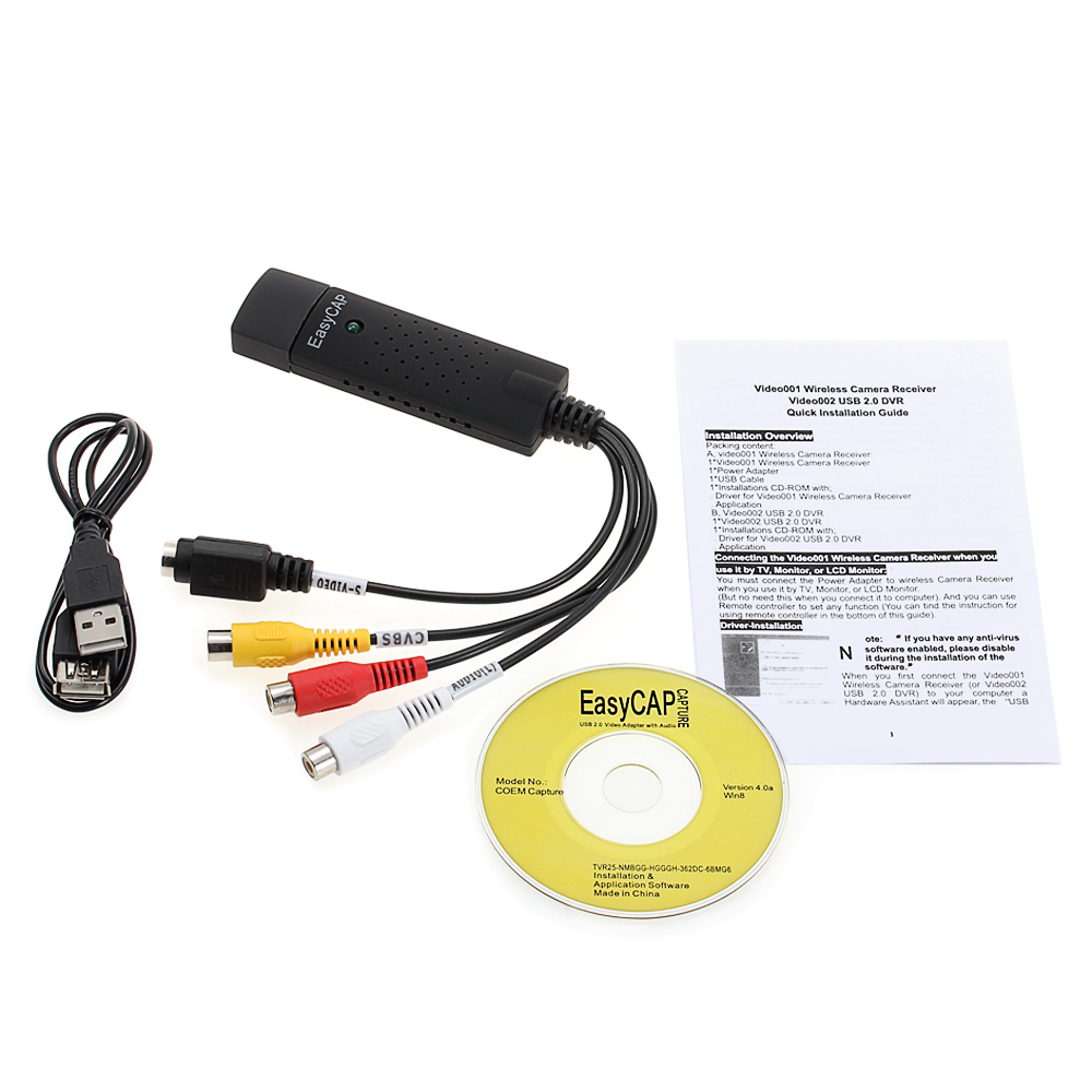 Easycap Dc60 Usb Video Capture Card Adapter With Chipset Utv 007 Dvd Channel 1 20 Utv007 Support Android Easy Cap Hdd Convert