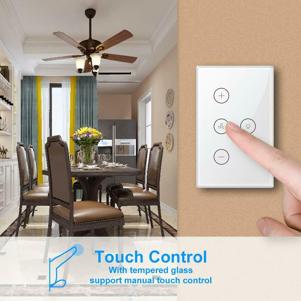 US For Alexa Google Home Smart WiFi In-Wall Ceiling Fan/Light Switch Voice  Timer