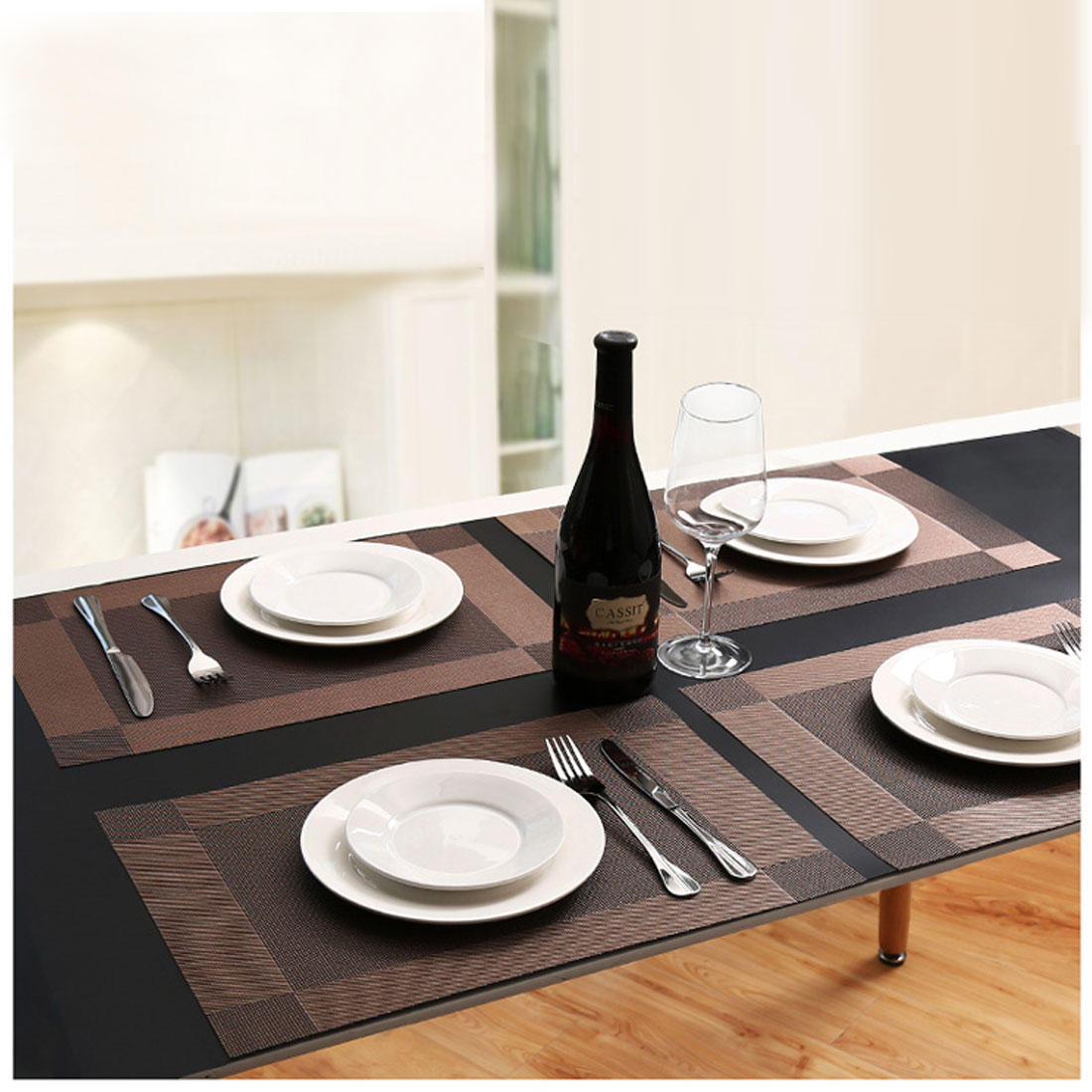 Dining Table Placemats Set of 6 Washable Weave Kitchen ...