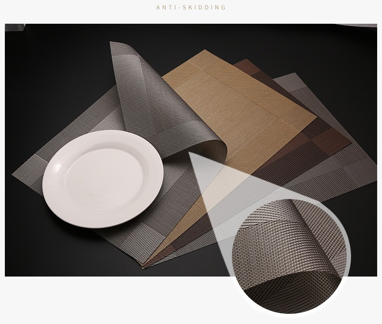 Set 6 Pvc Weave Woven Placemats Heat Insulation Dinig Room