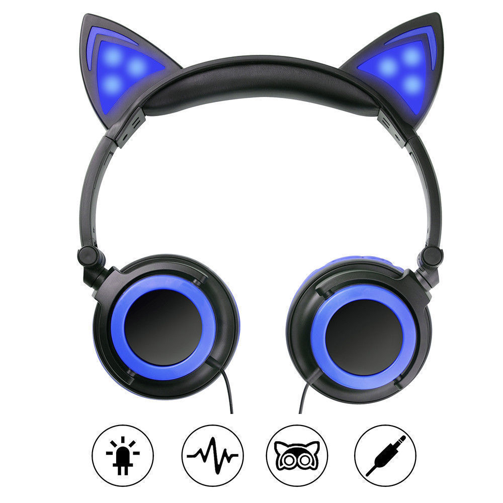 Wired-Headphones-Cat-Ear-Earphone-LED-Glowing-Light-Headset-For-iPhone-Samsung thumbnail 14