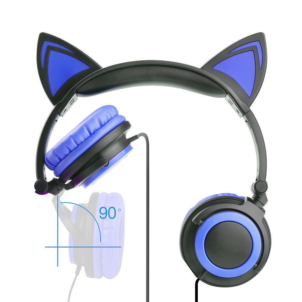 Wired-Headphones-Cat-Ear-Earphone-LED-Glowing-Light-Headset-For-iPhone-Samsung thumbnail 20