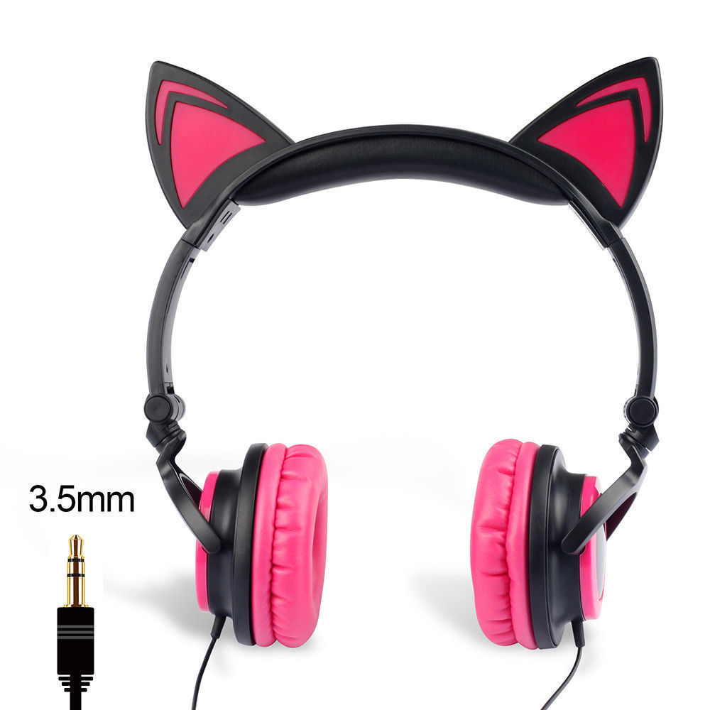 Wired-Headphones-Cat-Ear-Earphone-LED-Glowing-Light-Headset-For-iPhone-Samsung thumbnail 22