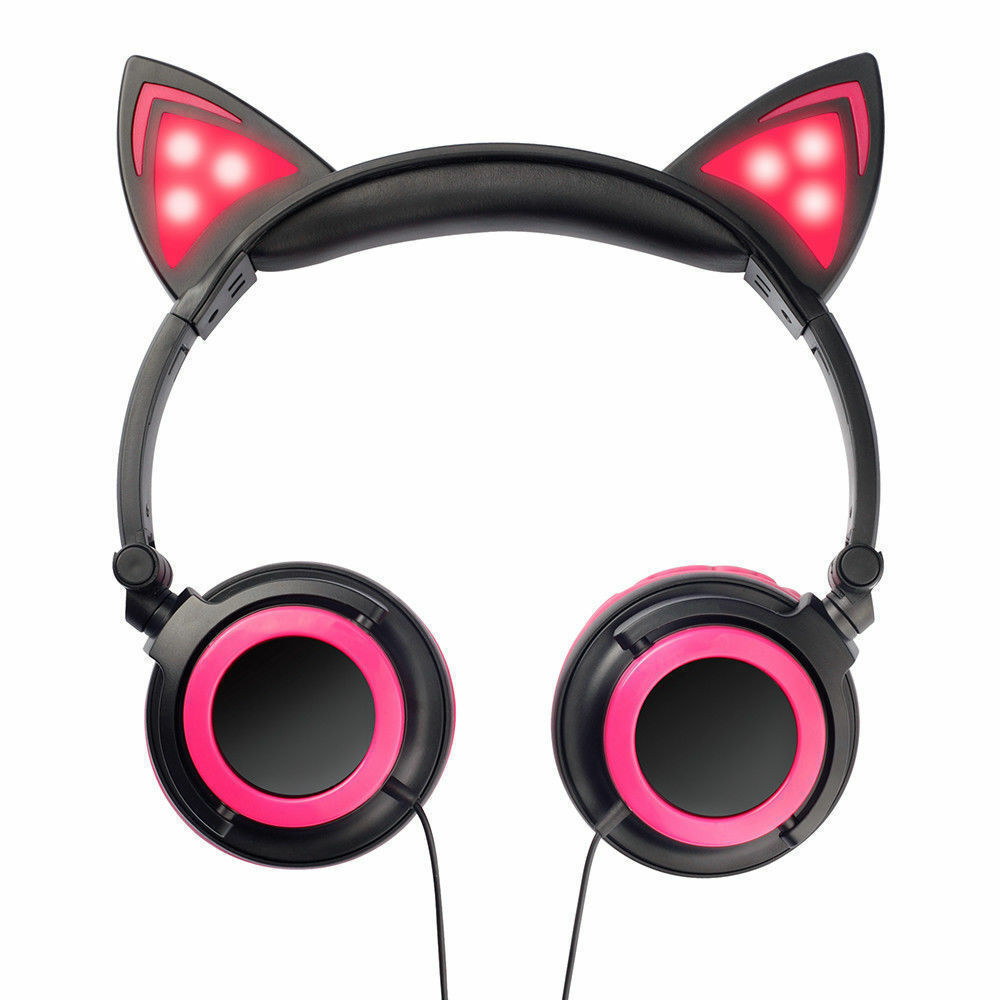 Wired-Headphones-Cat-Ear-Earphone-LED-Glowing-Light-Headset-For-iPhone-Samsung thumbnail 23