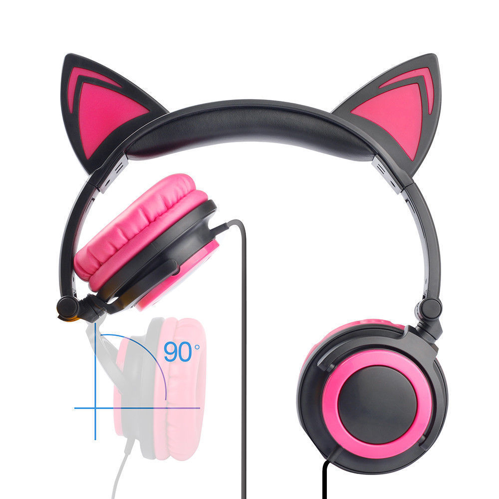 Wired-Headphones-Cat-Ear-Earphone-LED-Glowing-Light-Headset-For-iPhone-Samsung thumbnail 25