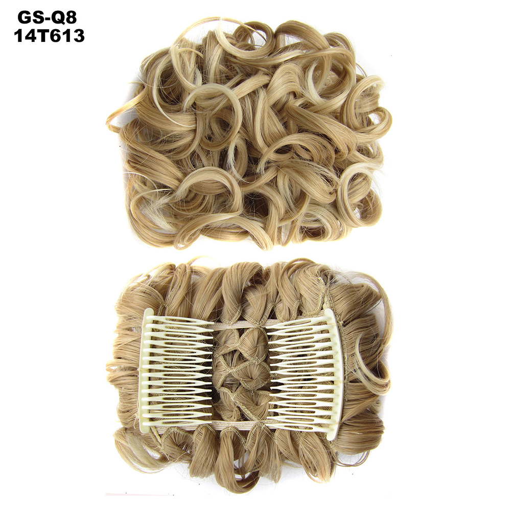 Scrunchie-Updo-Combs-Clip-in-Bun-Claw-Jaw-on-Messy-Wavy-Hair-Piece-Extensions-US thumbnail 20
