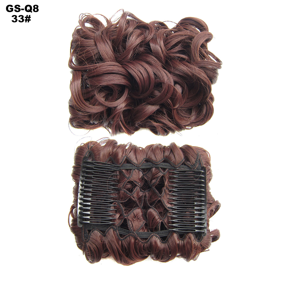 Scrunchie-Updo-Combs-Clip-in-Bun-Claw-Jaw-on-Messy-Wavy-Hair-Piece-Extensions-US thumbnail 24