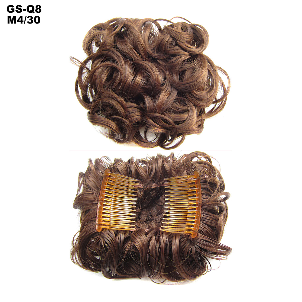 Scrunchie-Updo-Combs-Clip-in-Bun-Claw-Jaw-on-Messy-Wavy-Hair-Piece-Extensions-US thumbnail 28