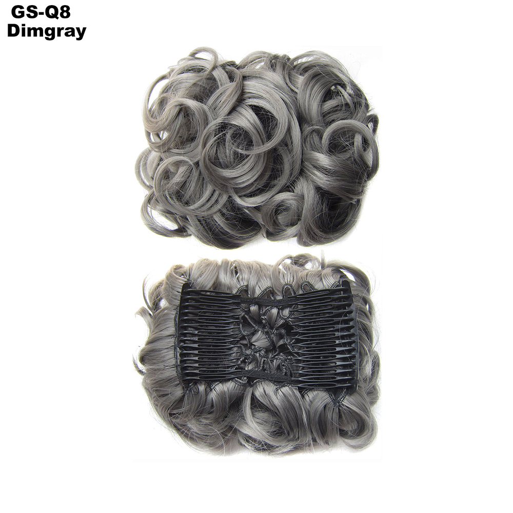 Scrunchie-Updo-Combs-Clip-in-Bun-Claw-Jaw-on-Messy-Wavy-Hair-Piece-Extensions-US thumbnail 30