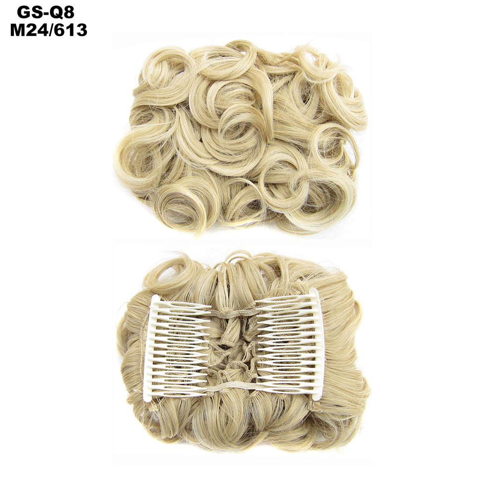 Scrunchie-Updo-Combs-Clip-in-Bun-Claw-Jaw-on-Messy-Wavy-Hair-Piece-Extensions-US thumbnail 34