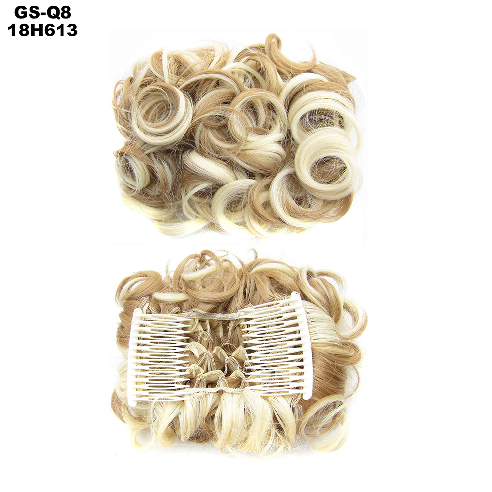 Scrunchie-Updo-Combs-Clip-in-Bun-Claw-Jaw-on-Messy-Wavy-Hair-Piece-Extensions-US thumbnail 42