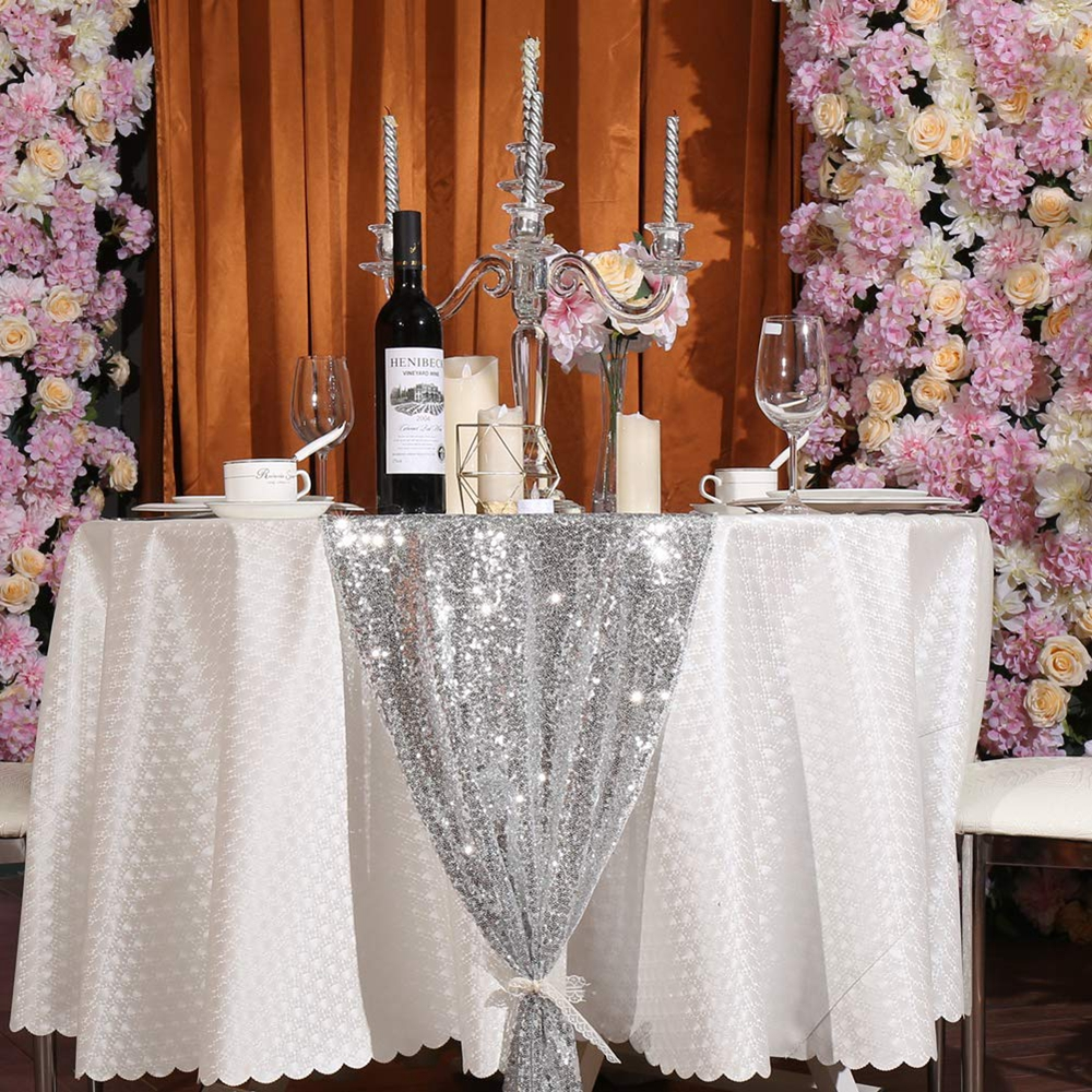 12-034-x-72-034-Glitter-Sequin-Table-Runner-Cloths-for-Xmas-Party-Banquet-Wedding thumbnail 15