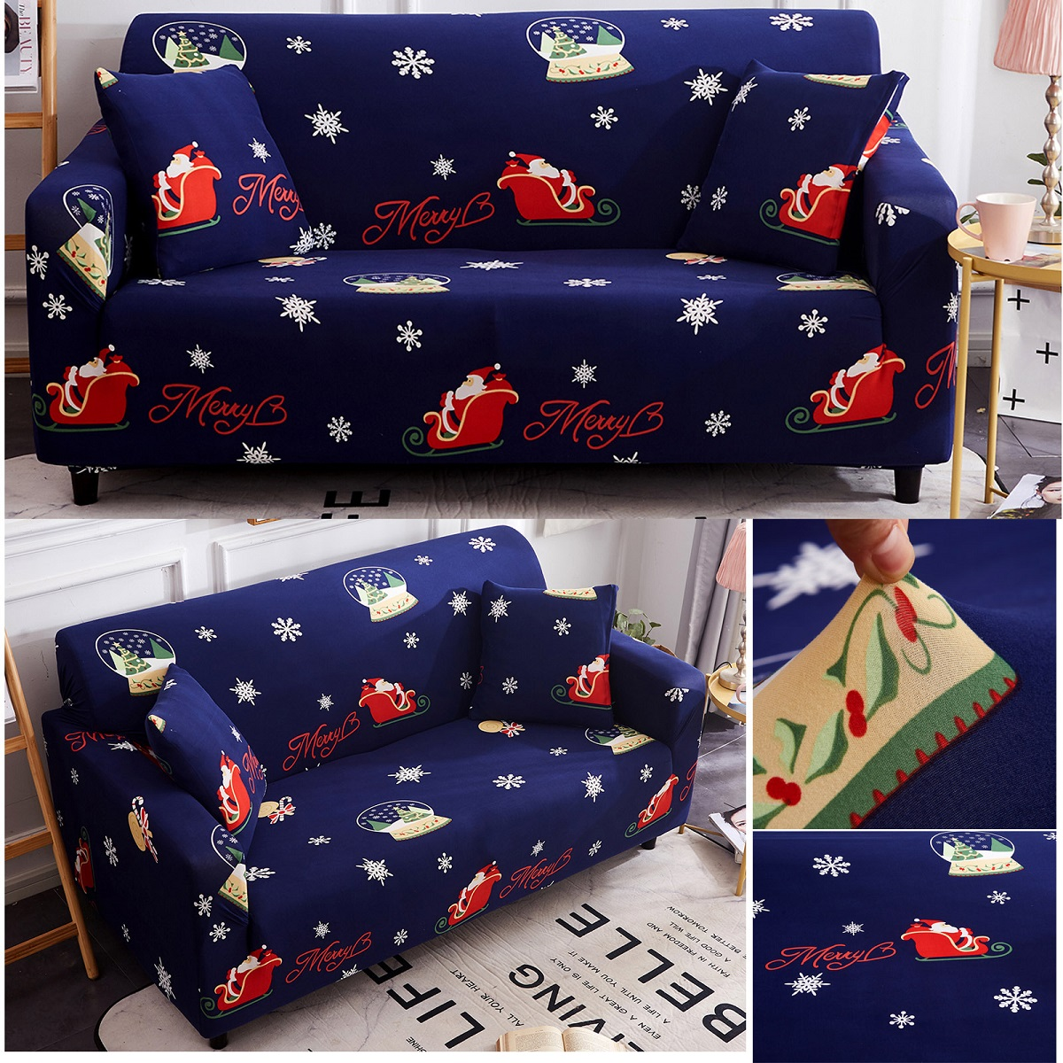 3/4 seater stretch sofa covers couch cover elastic slipcover protector christmas