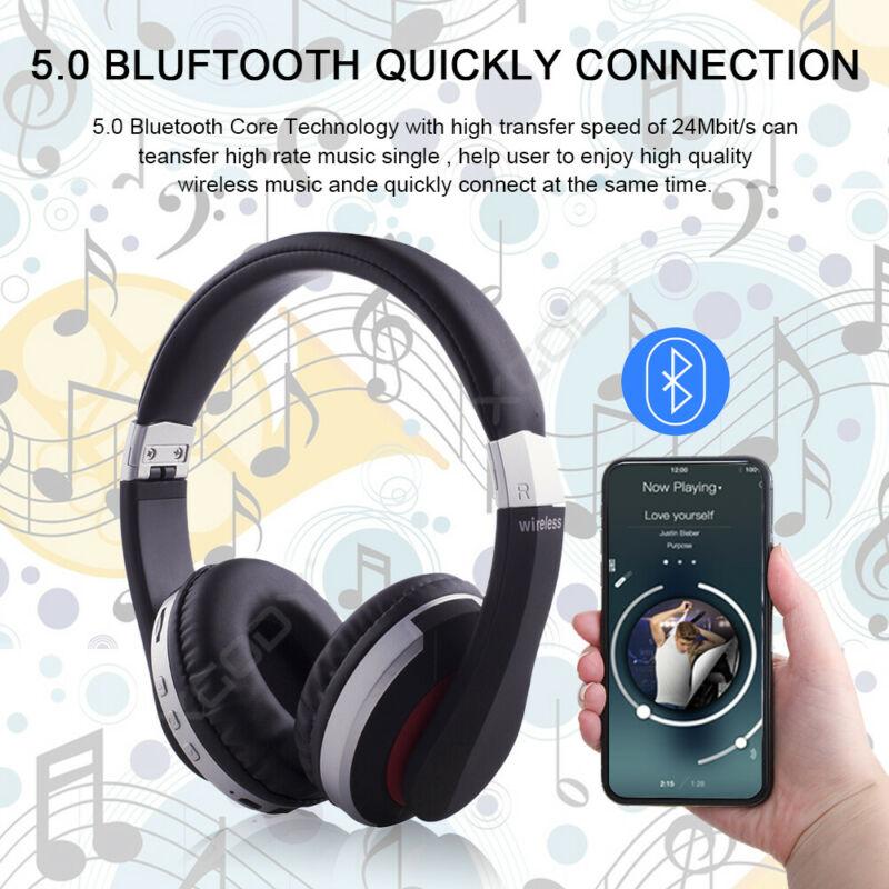 Wireless-Bluetooth-5-0-Headphone-Foldable-Stereo-Earphone-Super-Bass-Headset-Mic thumbnail 4