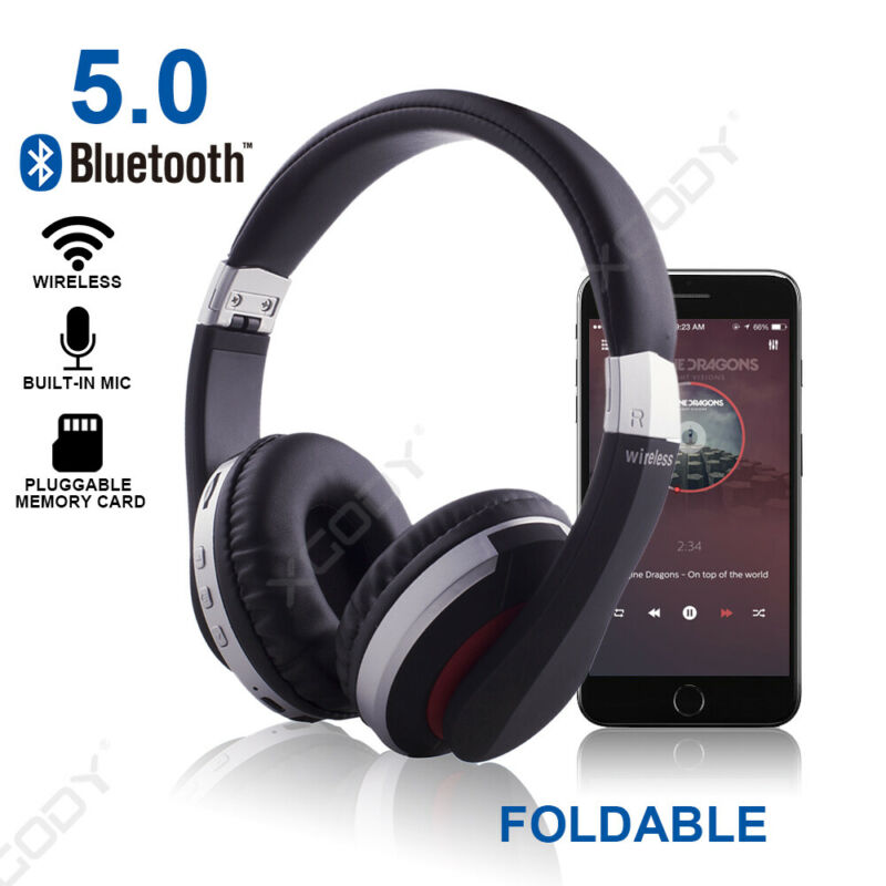 Wireless-Bluetooth-5-0-Headphone-Foldable-Stereo-Earphone-Super-Bass-Headset-Mic thumbnail 8