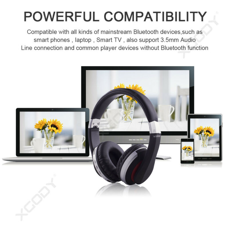 Wireless-Bluetooth-5-0-Headphone-Foldable-Stereo-Earphone-Super-Bass-Headset-Mic thumbnail 10