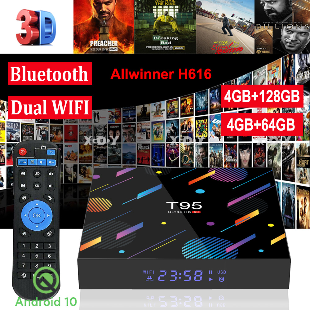 4+128G T95 Android 10.0 OS TV BOX 5G WIFI BT5.0 Movies ...