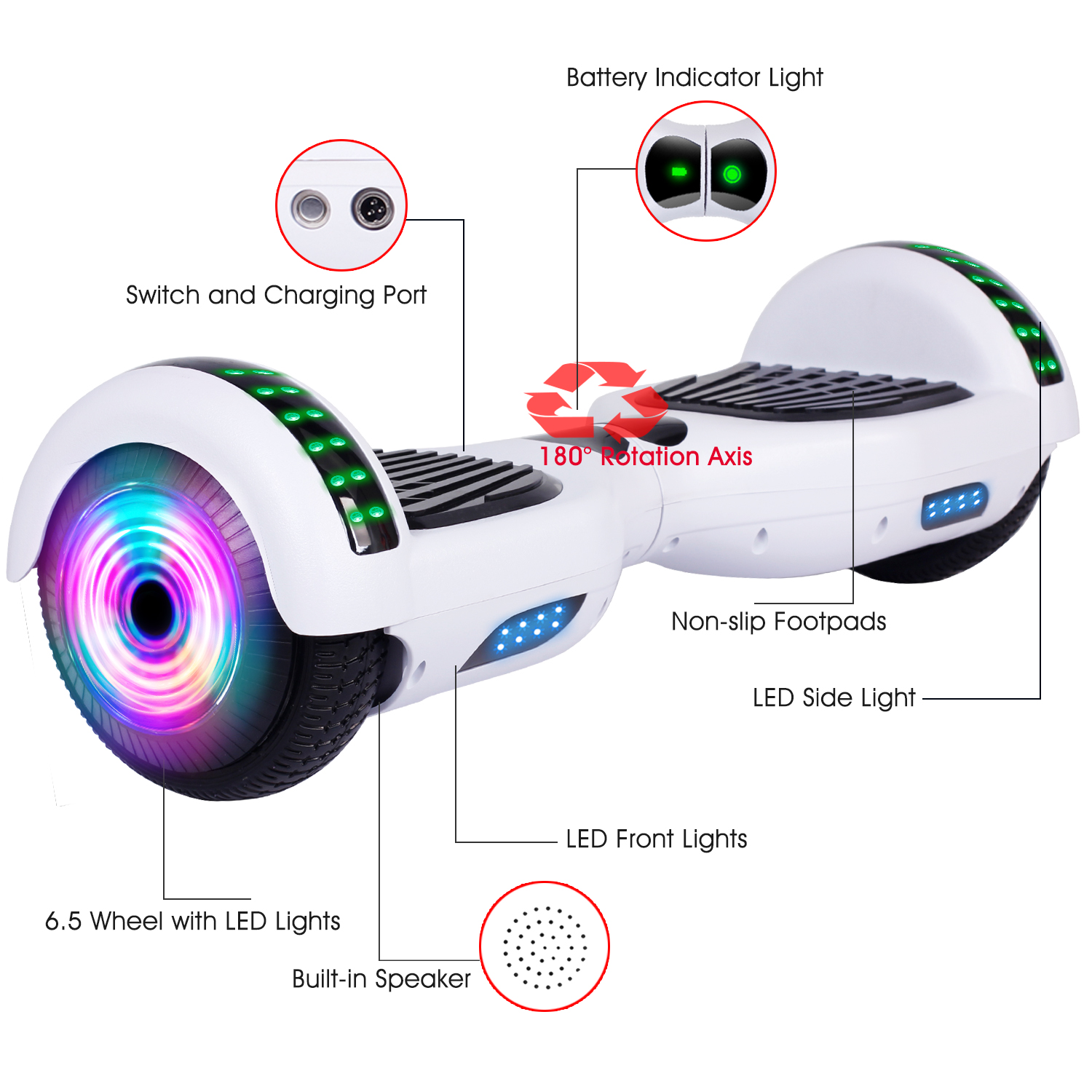 6-5-034-Bluetooth-Hoverboard-LED-Self-Balancing-Scooter-UL2272-no-Bag-US-Best-Gift thumbnail 9