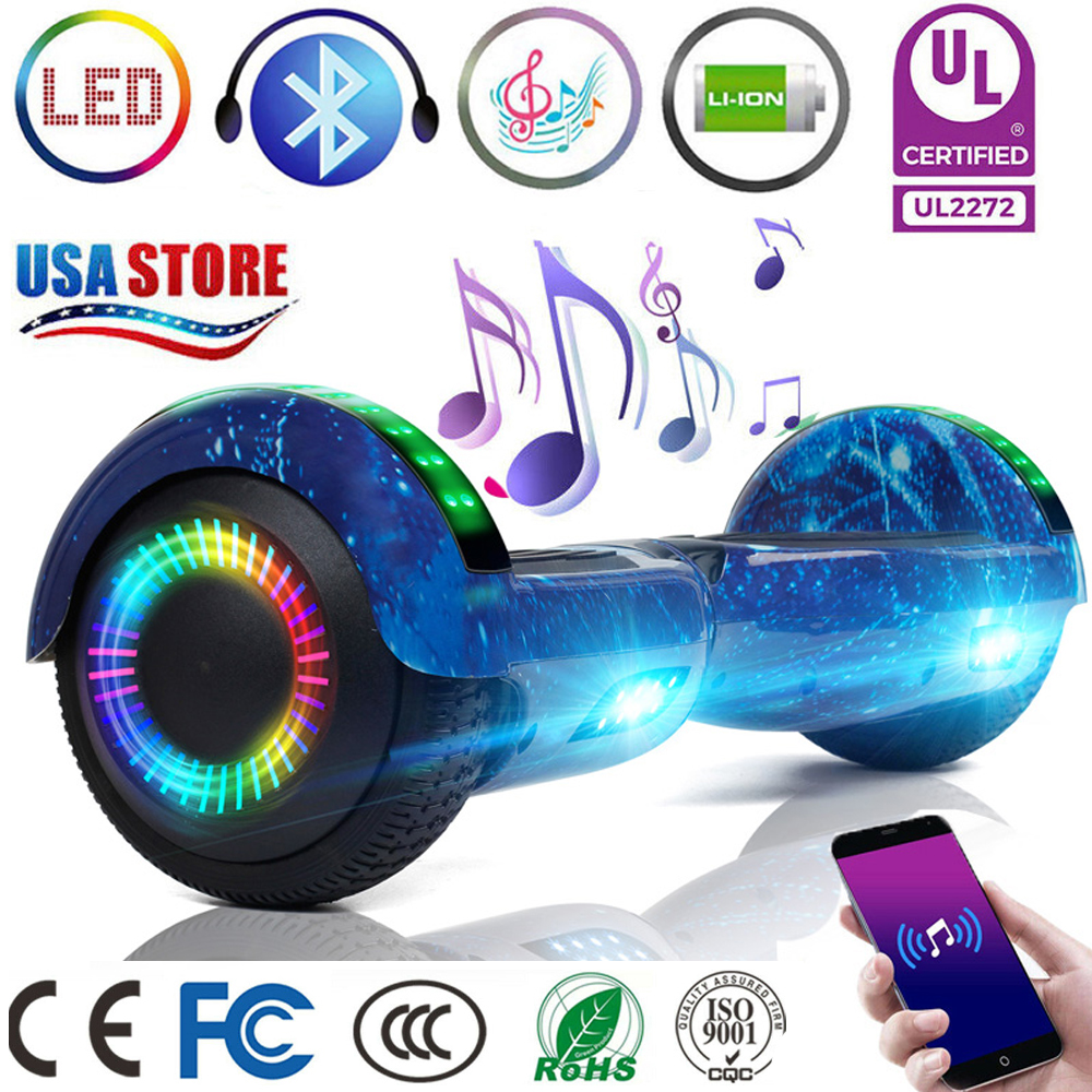 """6.5""""LED Bluetooth Hoover Board Self Balancing Electric Scoot"""