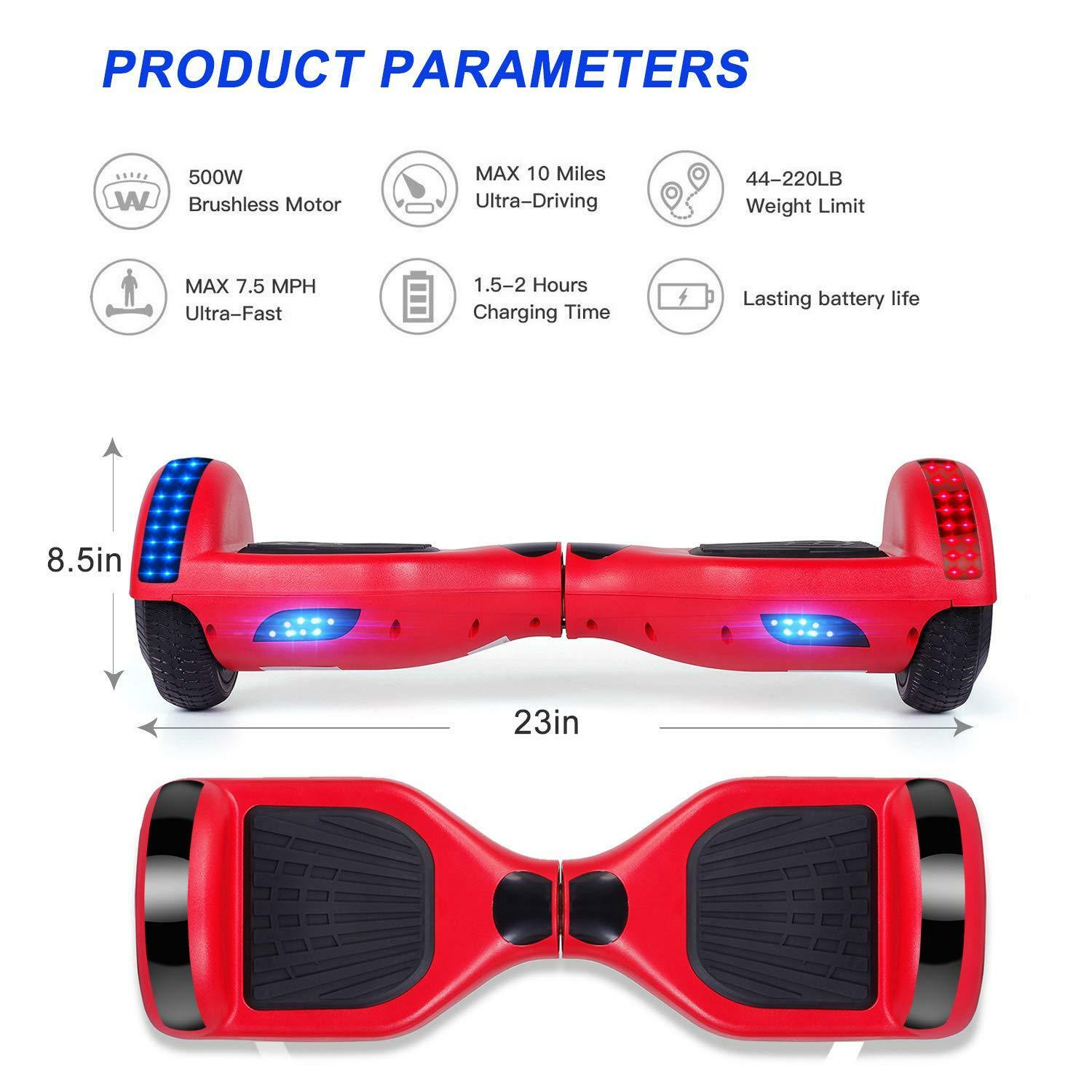 6-5-034-Electric-Hoverboard-Self-Balancing-LED-Scooter-UL-2272-Skateboard-Classic thumbnail 5