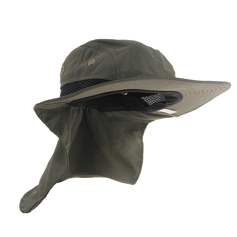 52a4f2165f34b Boonie Hat Fishing Boating Hiking Snap Brim Ear Neck Cover Bucket Sun Flap  Cap