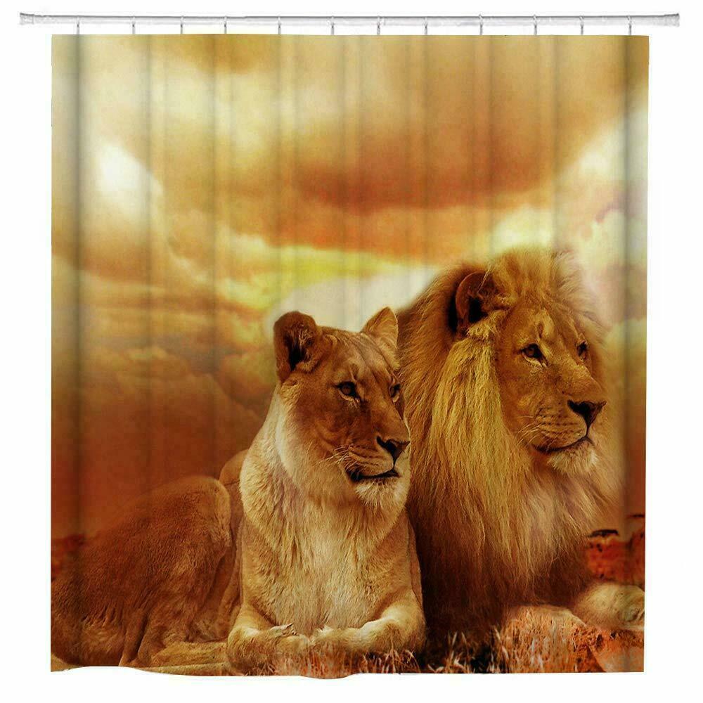 African Lion Fabric Shower Curtain Set Bathroom Decor With Hook Washable 71 X71 Ebay
