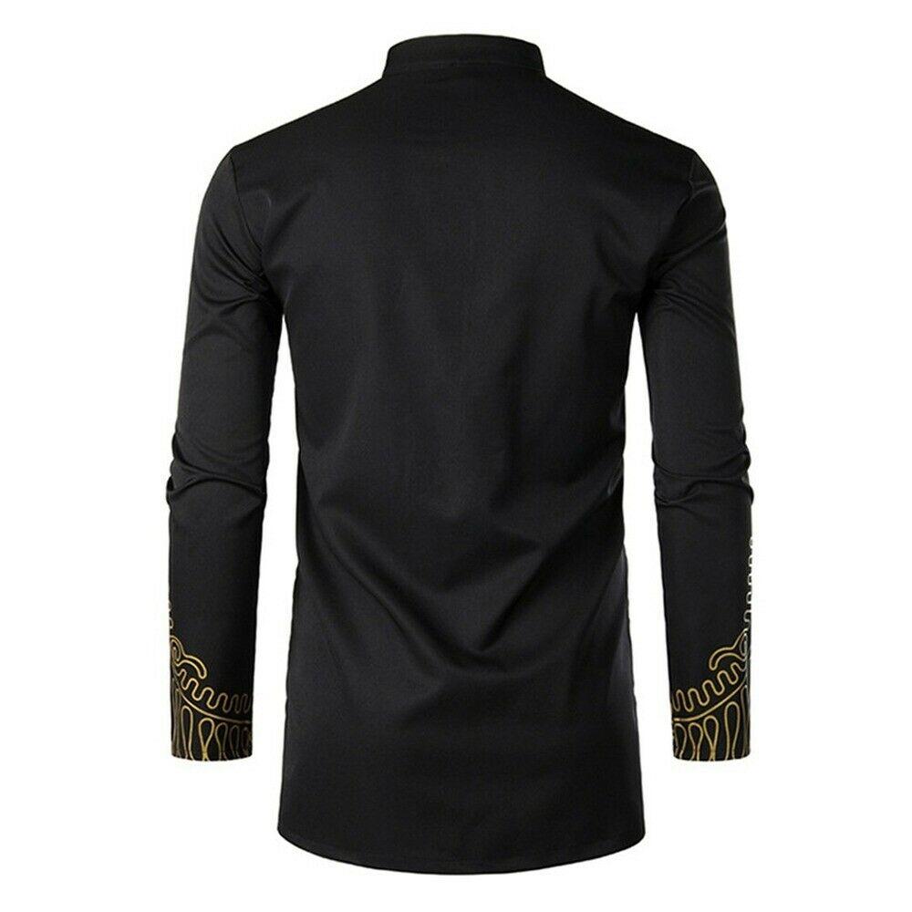 Men's Dashiki African Clothing Traditional Printed Luxury Long Henley Shirt