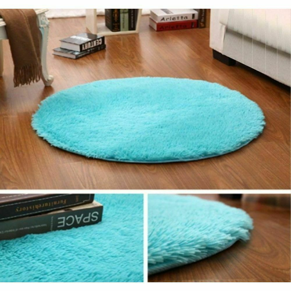 Shaggy Fluffy Round Floor Mat Rugs Anti Skid Area Rug Room