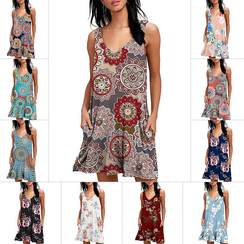 Womens 3D Vintage Boho Print Tank Dress,Summer Casual Slim Sleeveless T-Shirt Mini Dresse