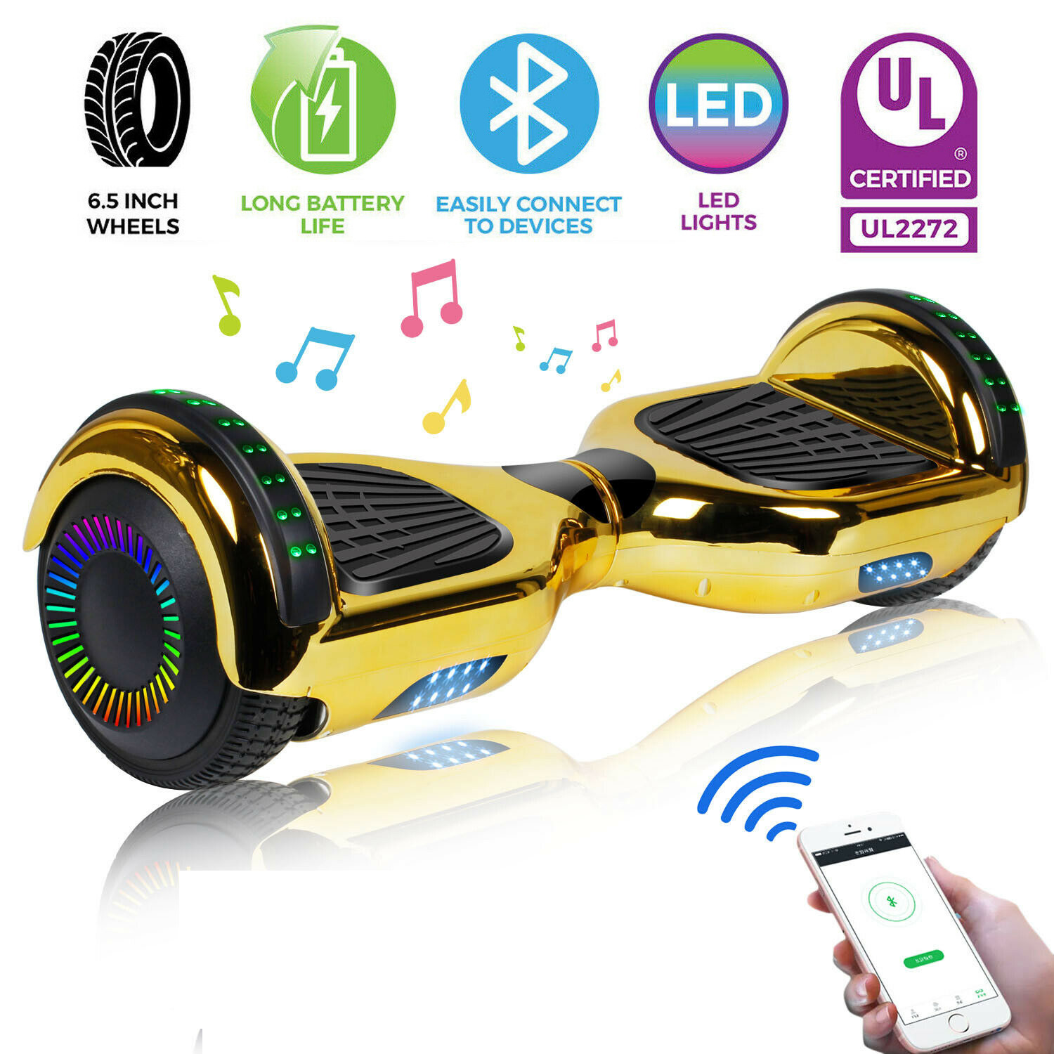 """6.5"""" Hoverboard Bluetooth Chrome Electric Self Balance Scoot"""